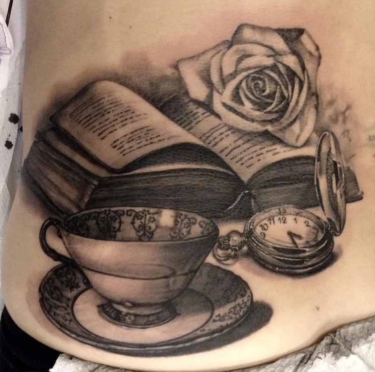 Watch and book tattoo