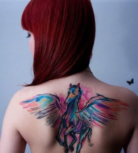 Watercolor Pegasus woman tattoo