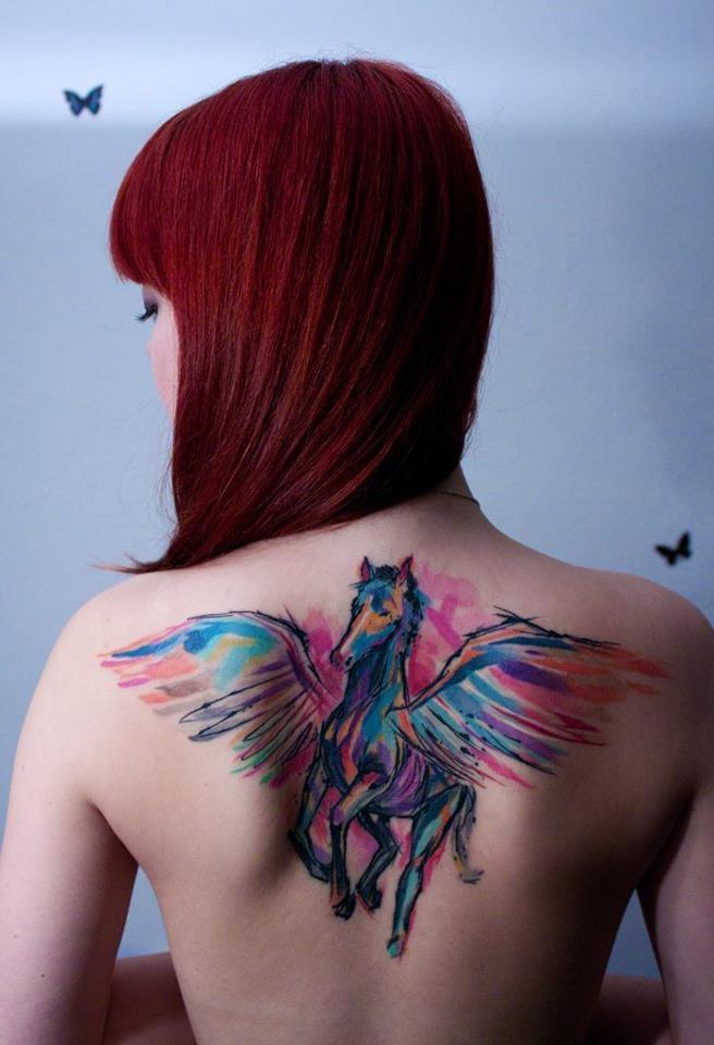 Watercolor Pegasus woman tattoo