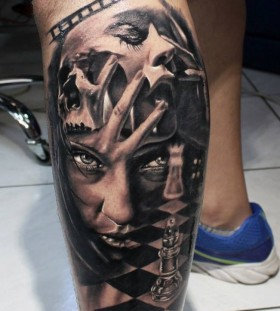 Woman and chess tattoo