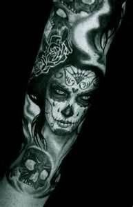 Woman and skull scary tattoo