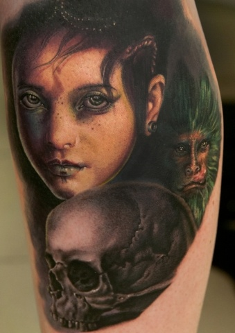 Woman and skull tattoo by Andy Engel