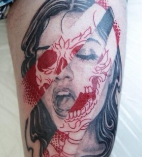 Woman scary tattoo