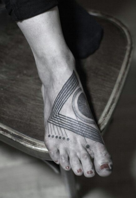 abstarct tattoo on foot by M-X-M