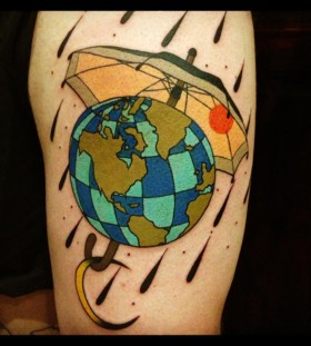 aivaras lee tattoo the globe under umbrella