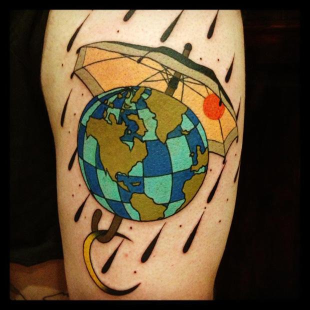 aivaras lee tattoo the globe under umbrella