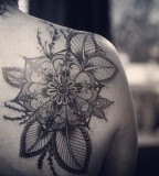 alice carrier tattoo beautiful flower on back shoulder