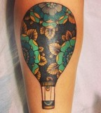 alice carrier tattoo flowery hot air balloon