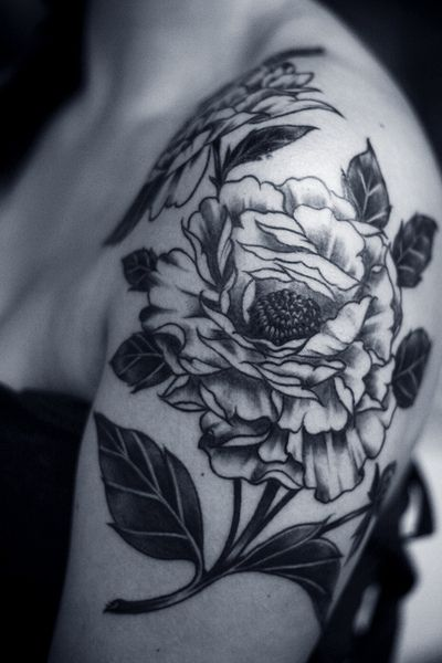 alice carrier tattoo peonies
