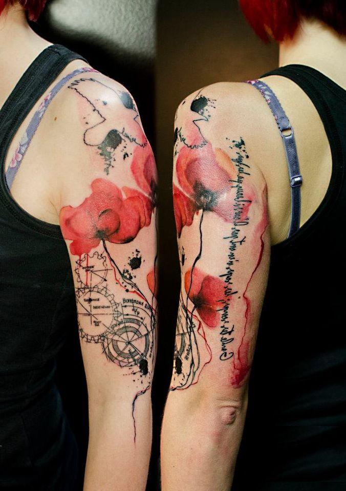 arm tattoo with red flower by klaim