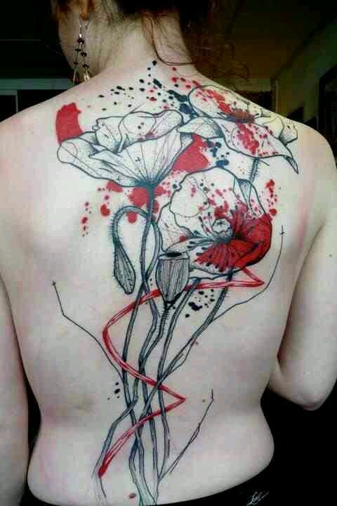 back tattoo design for women abstract poppy