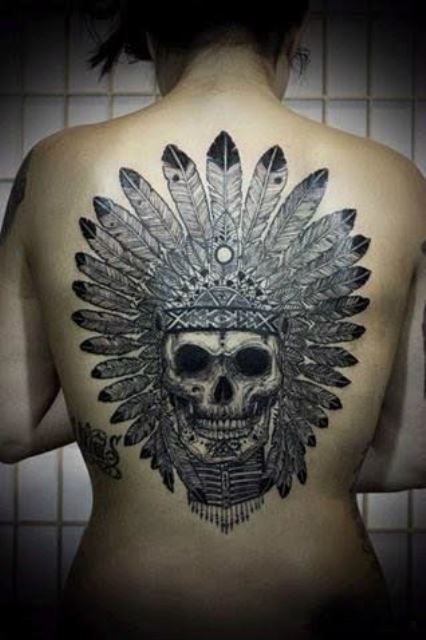 back tattoo design for women amazing skull
