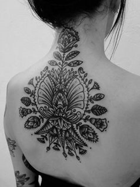 back tattoo design for women floral ornament