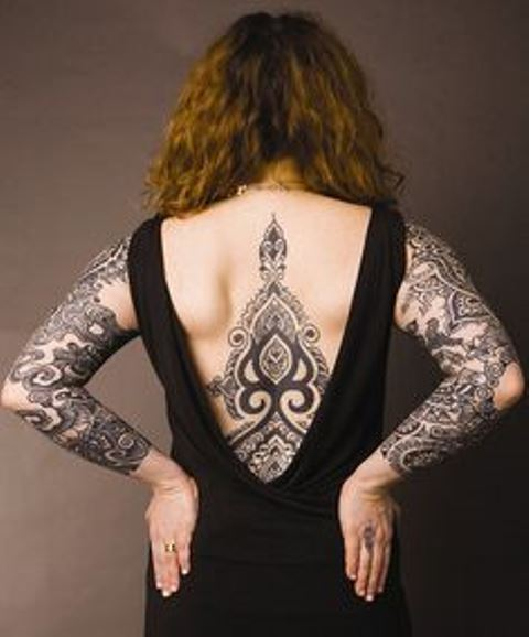 back tattoo design for women full back work and arm sleeves