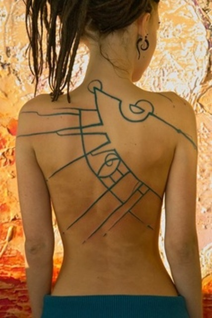 back tattoo design for women funky bluish abstraction