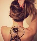 back tattoo design for women geisha with umbrella