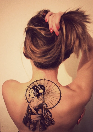 back tattoo design for women geisha with umbrella