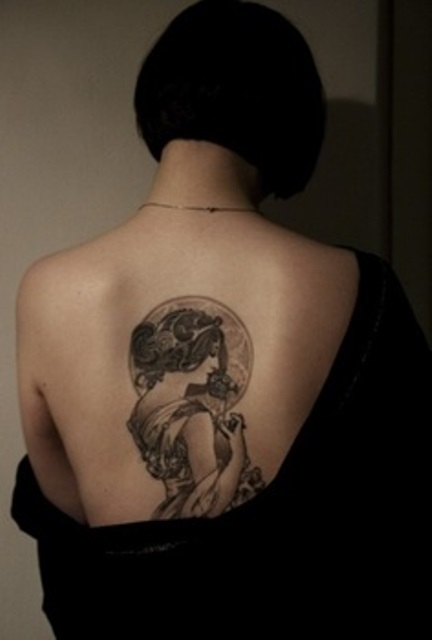 back tattoo design for women mucha inspired tattoo