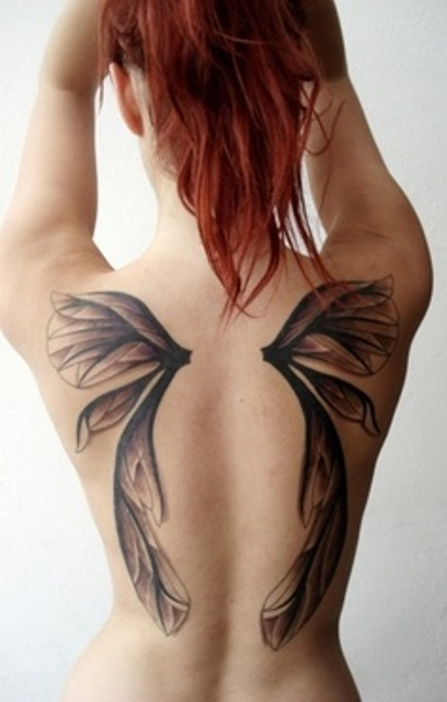 back tattoo design for women pixie wings