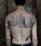 big landmark tattoo line work by M-X-M