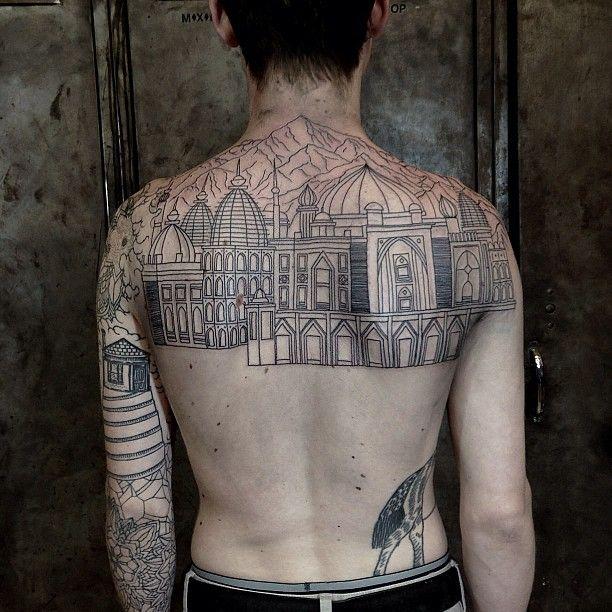 big landmark tattoo line work by M-X-M