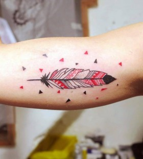 black and red feather tattoo by matik
