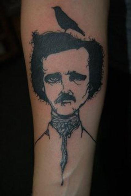 black ink edgar allen poe and the raven tattoo