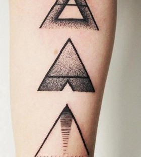 black ink equilateral triangles tattoo
