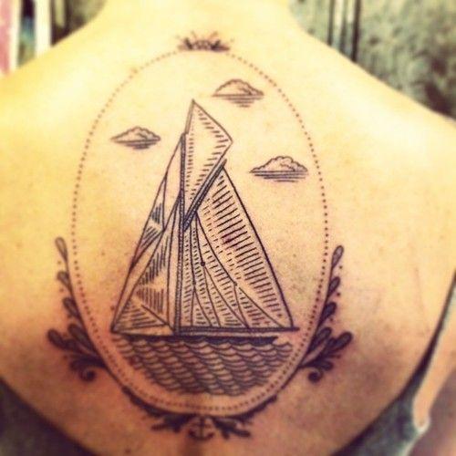 duke riley framed sailboat on back