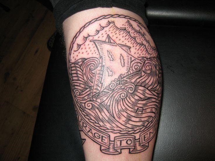 duke riley tattoo boat on storm