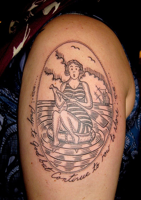 duke riley tattoo pray to god but continue to row to shore