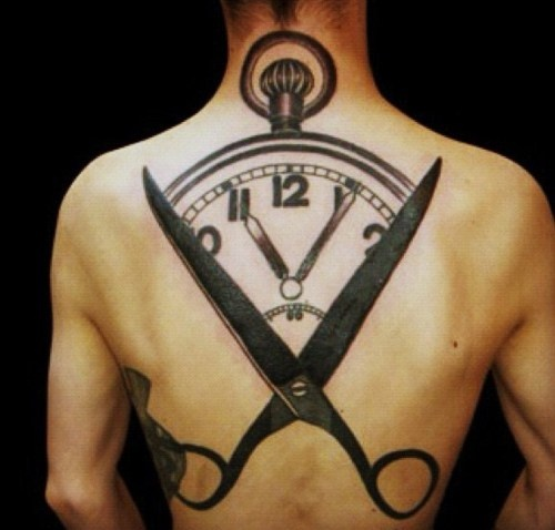 illusion of time tattoo blackwork on back by M-X-M
