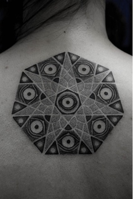 kenji alucky tattoo  mandala on back