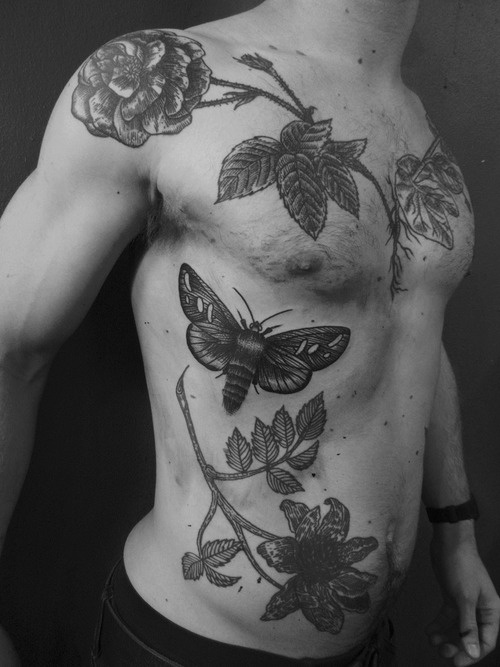 liam sparkes tattoo beautiful flowers and insect