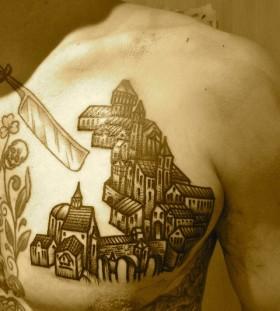 liam sparkes tattoo little village on chest