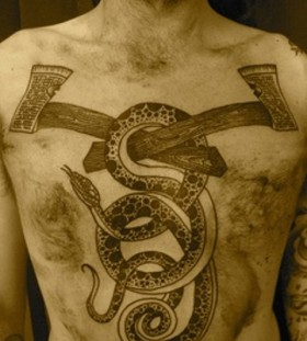 liam sparkes tattoo snake and axes