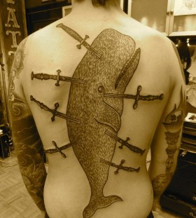 liam sparkes tattoo stuck swords in whale's body