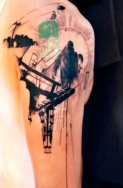 man looking up tattoo by klaim