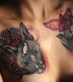 marta lipinski cat and bird chest tattoo