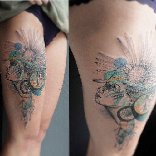 marta lipinski surreal woman's profile tattoo