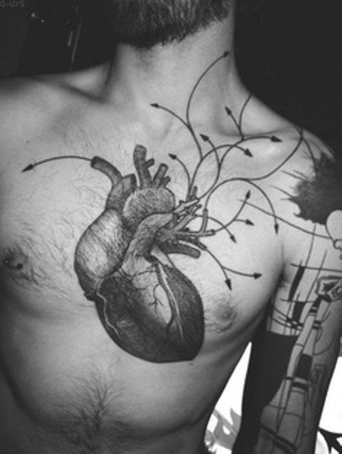 modern tattoo anatomic heart with arrows