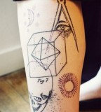 modern tattoo geometry skull and masonic eye