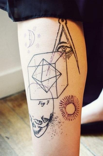 modern tattoo geometry skull and masonic eye