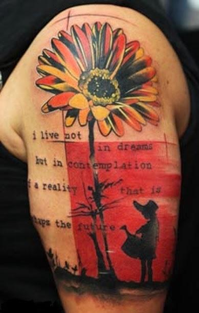 modern tattoo punk design flower