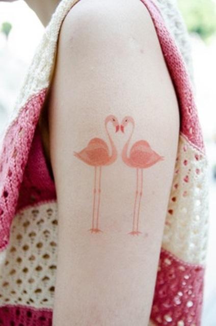 modern tattoo two pastel pink flamingos