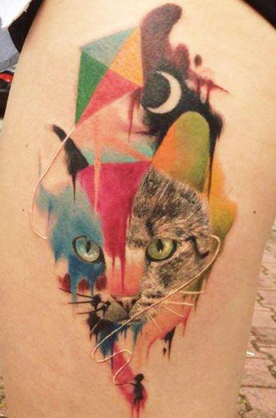modern tattoo watercolor cat head