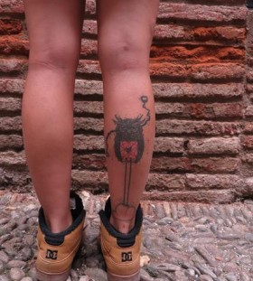 owl tattoo on back leg by matik