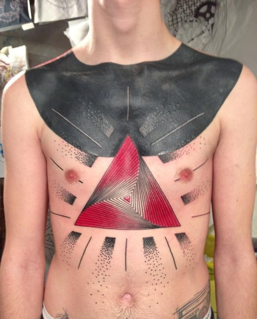 seb inkme red and black chest and stomach tattoo