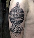 the moon death and boat tattoo by M-X-M