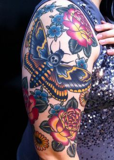 virginia elwood tattoo arm sleeve with roses and butterfly